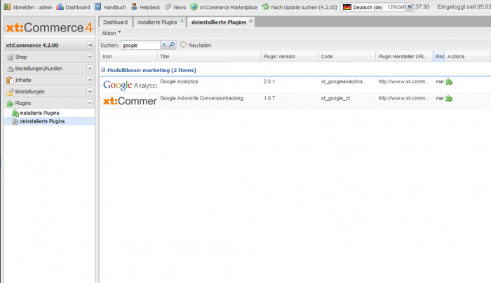 Google Analytics Tracking in xt:Commerce 4 installieren
