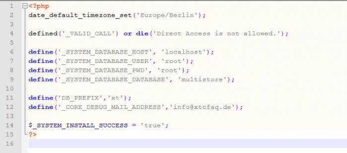 Die config.php von xt:Commerce