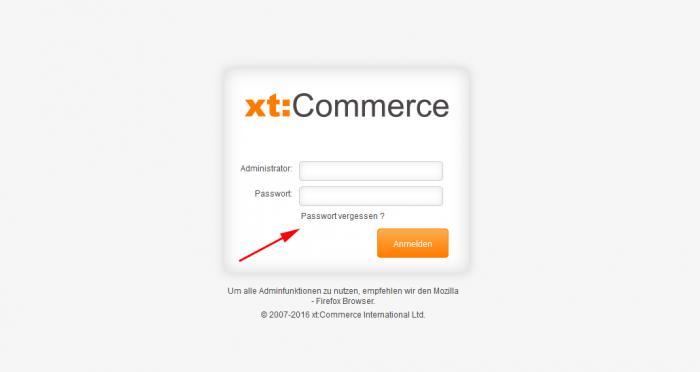 xt:Commerce Passwort vergessen