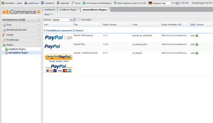 xt:Commerce PayPal Plugin installieren
