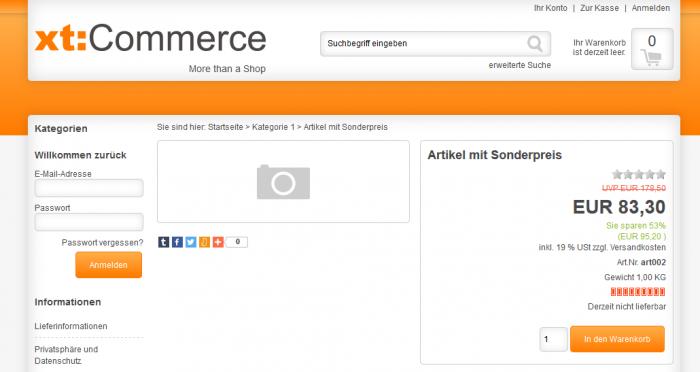 xt:Commerce Streichpreis im Frontend