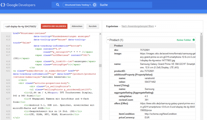 Structured Data Testing-Tool von Google
