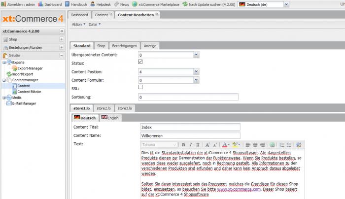 Text auf der Startseite ändern in xt:Commerce