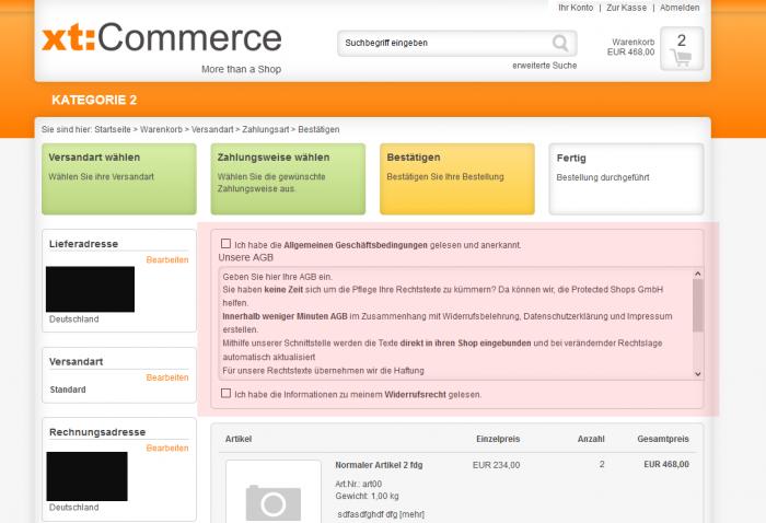 xt:Commerce AGBs im Checkout anzeigen