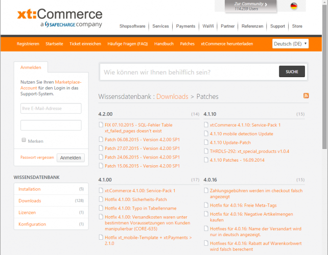 xt:Commerce Patches im helpdesk