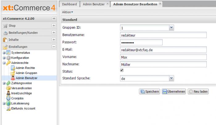 Adminbenutzer bei xt:Commerce hinzuzufügen