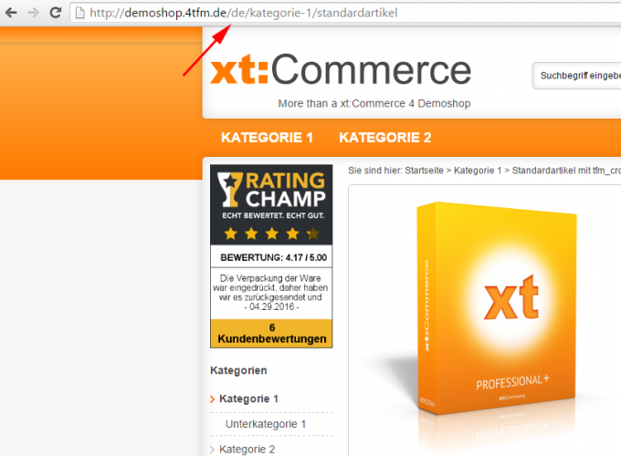 "Länderkürzel ""de"" in xt:Commerce Shop-URL"