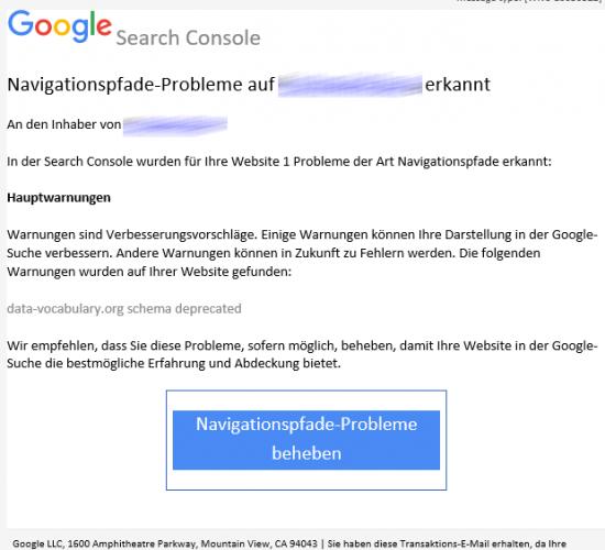 In der Search Console wurden für Ihre Website 1 Probleme der Art Navigationspfade erkannt
